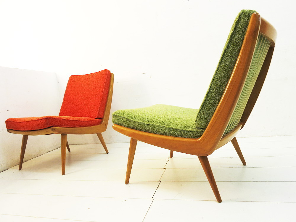 2 50s BOOMERANG EASY CHAIRS by WK