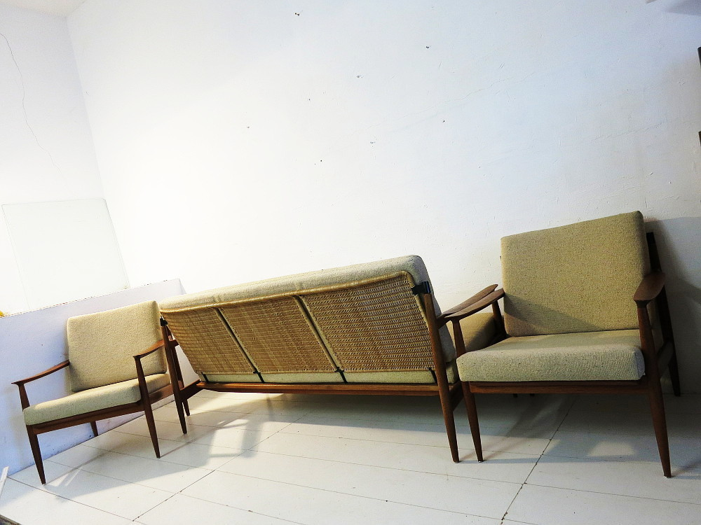Teak/Wicker Seating Suite Sofa And 2 Easy Chairs Design Carl Straub Goldfeder