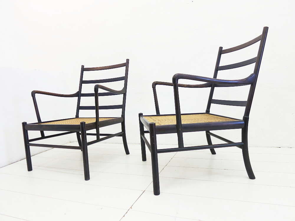 2 Colonial Chairs Design Ole Wanscher For Poul Jeppesen / No Cushions