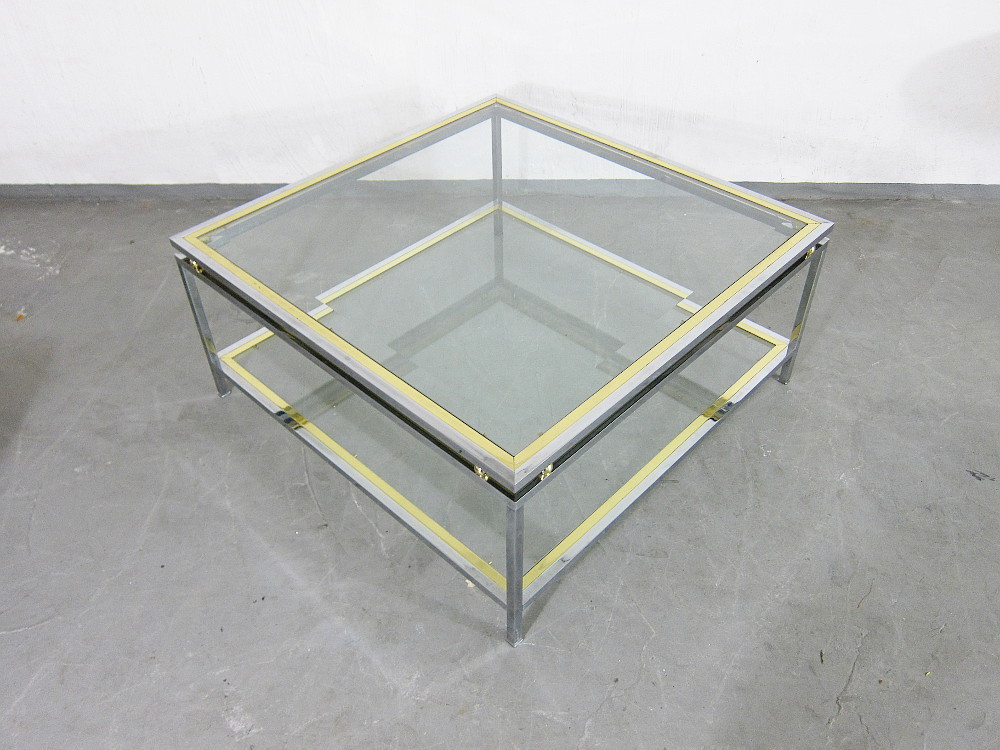 Bicolor 2 Level Coffee Table Brass Chrome