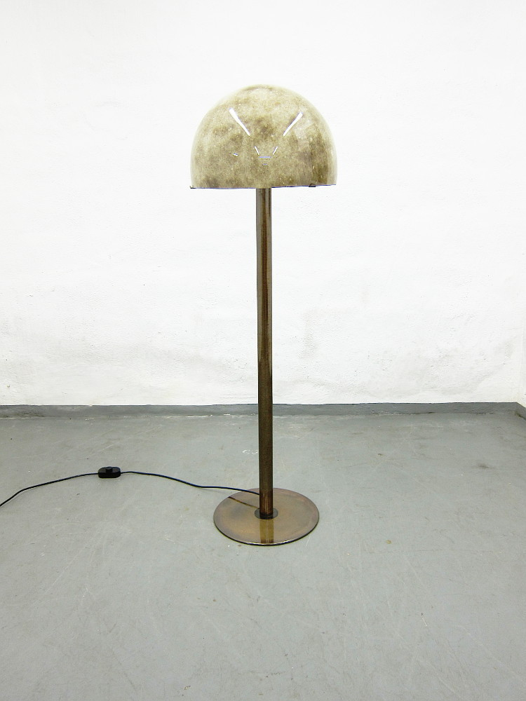 Glass Metal Floor Lamp From the 1970s