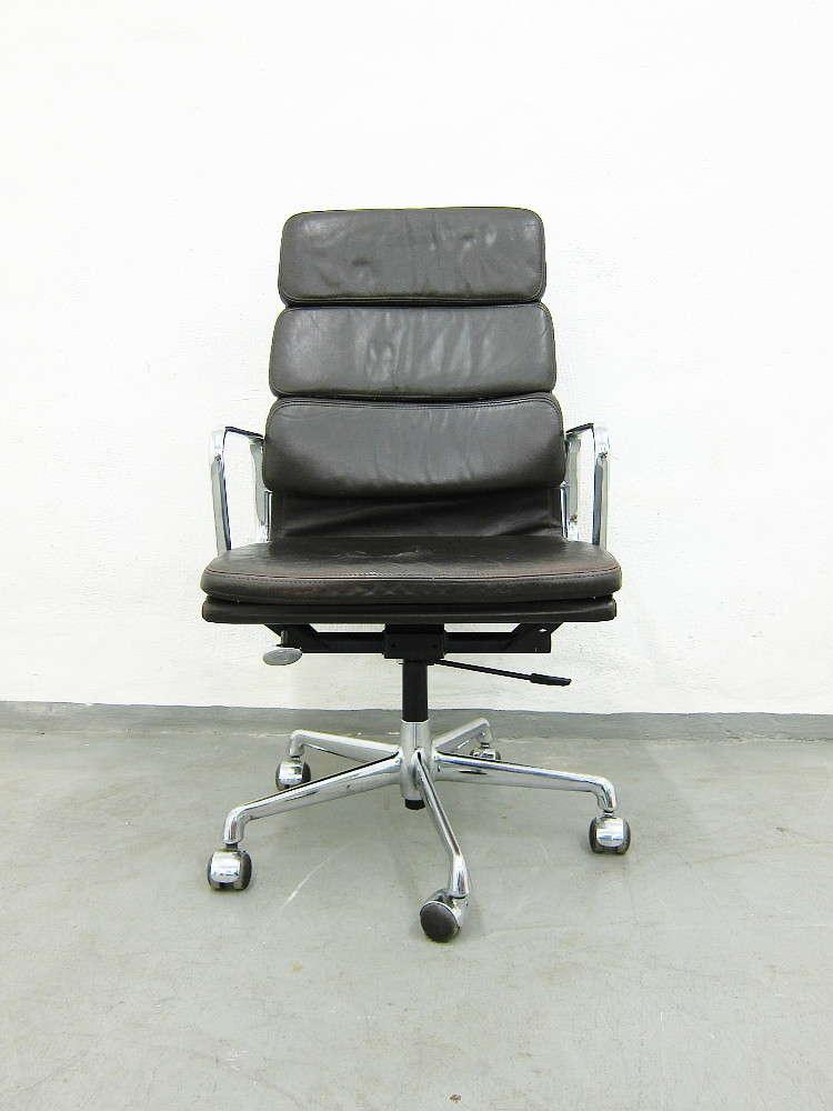 Herman Miller Eames Soft Pad Chair Schreibtischstuhl In Dunkelbraunem Leder