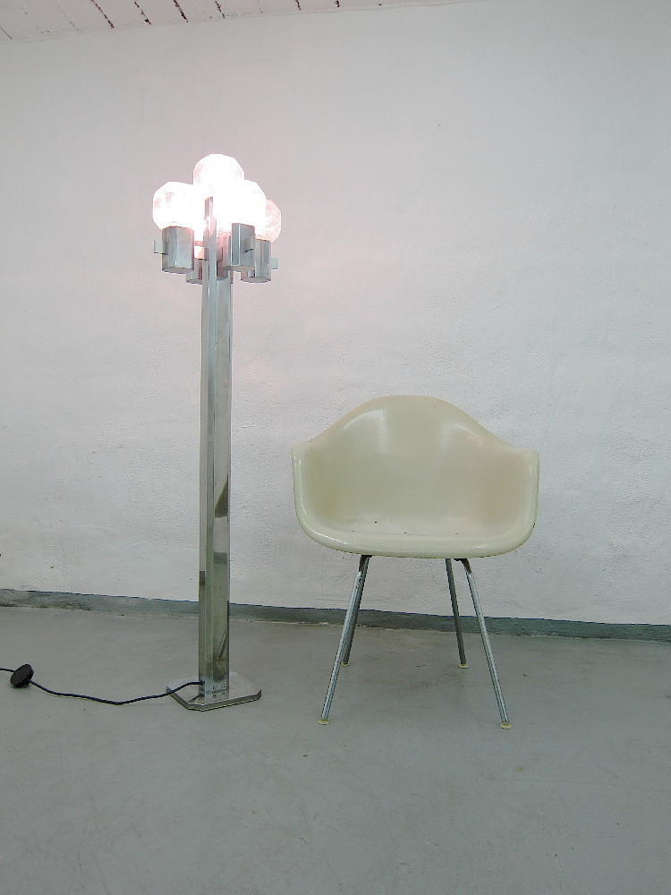 Glass Metal Floor Lamp 60s / 70s