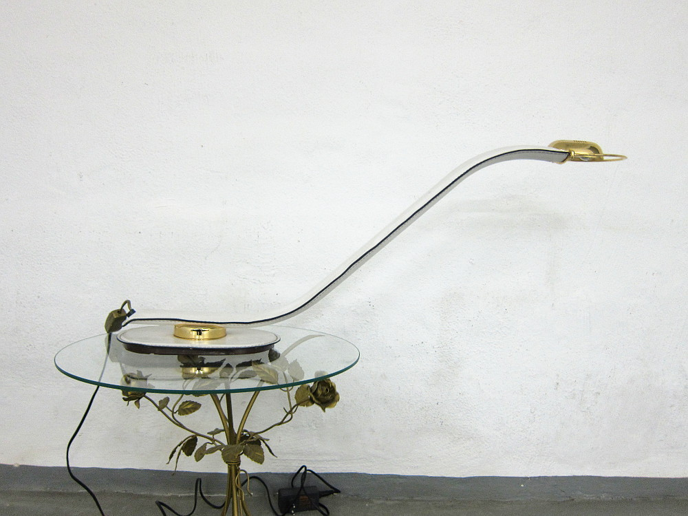 80s Cobra Lamp Brass Leather