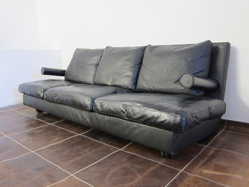 B&B Italia Baisity Three Seat Leather Sofa Design Antonio Citterio