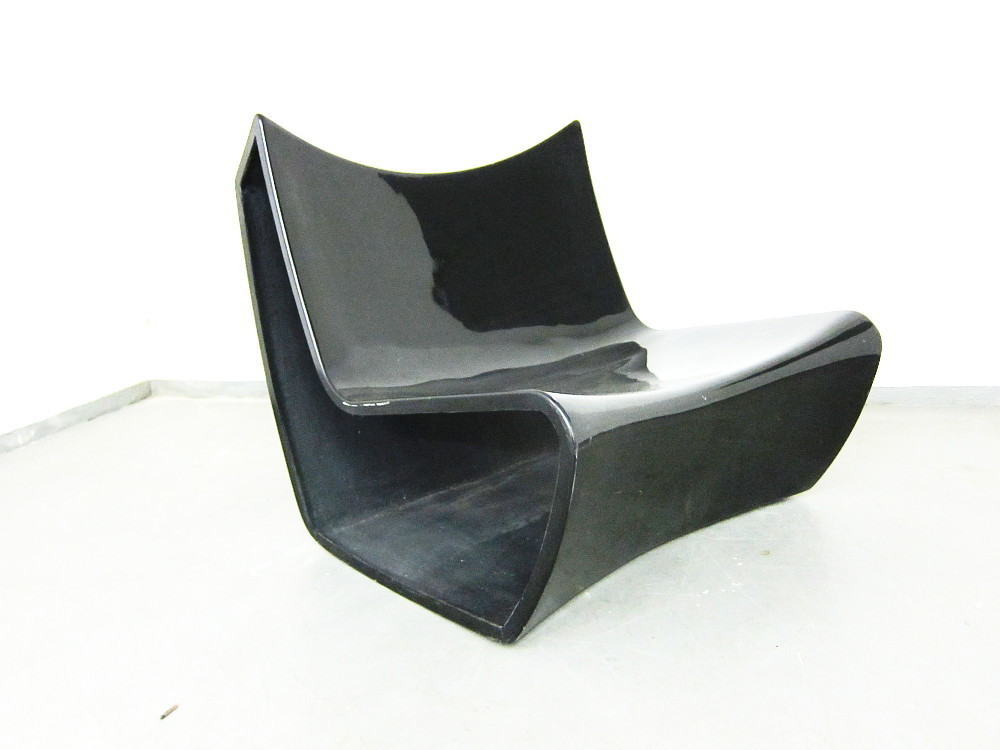 Black Plastic Chair From The 1970s