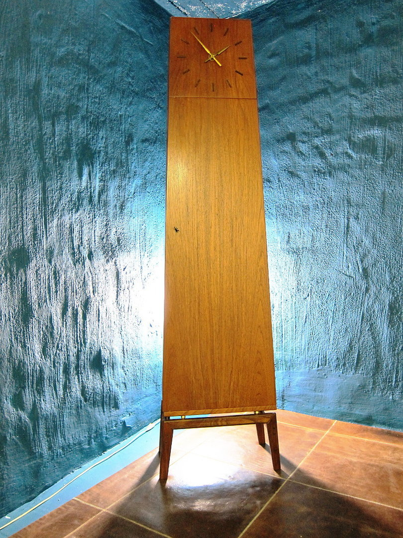 Teak Grandfather Clock with Locking Cabinet
