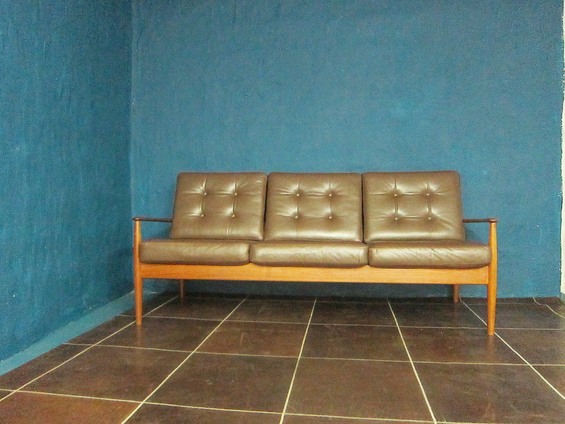 Grete Jalk Three Seater Sofa France&Son Teak Leather
