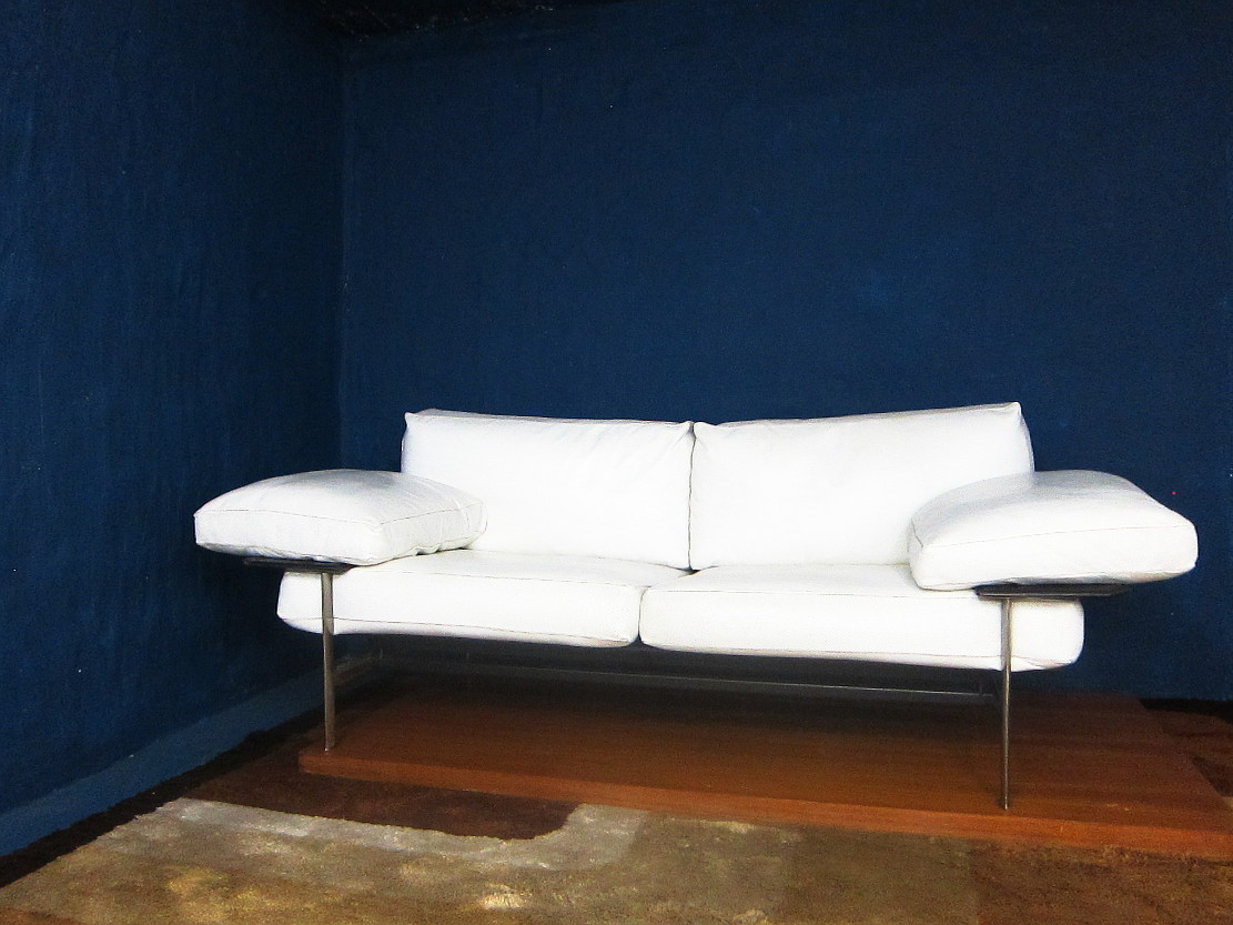 Diesis Two Seat Sofa White Leather Design Antonio Citterio / Paolo Nova for B&B Italia