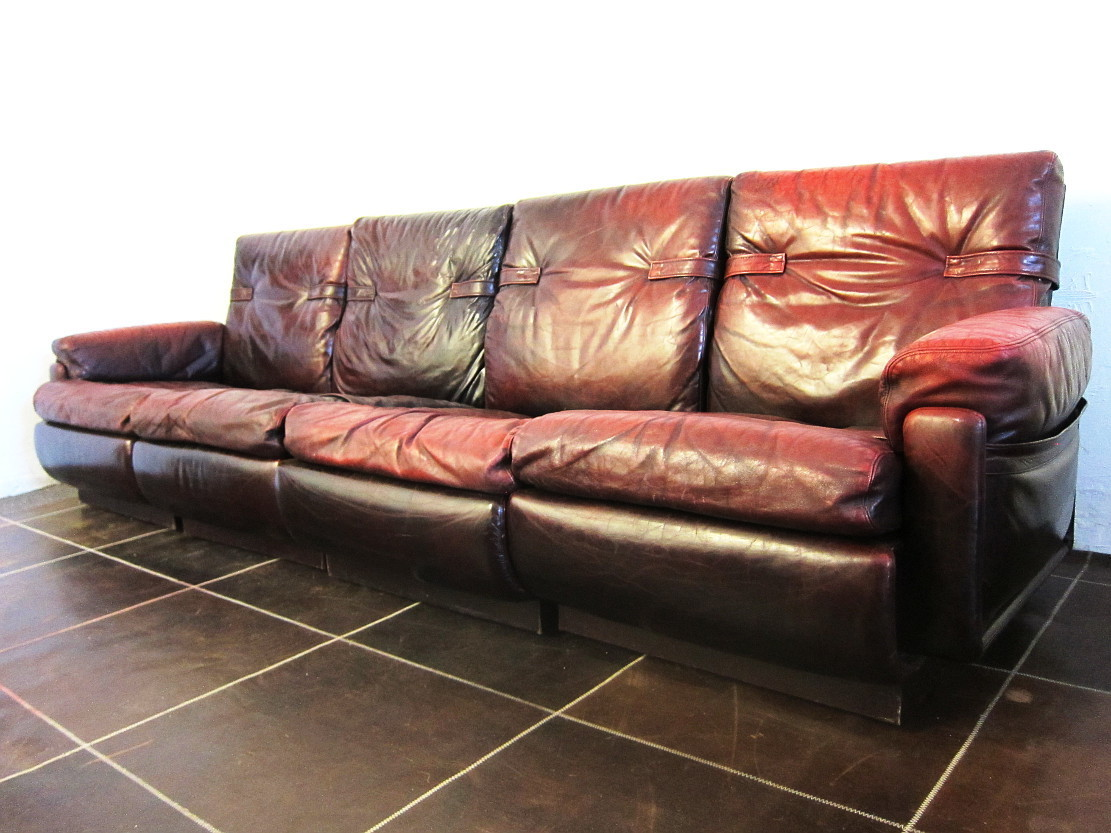 Modular Leather Four Seat Sofa from the 1960s, -70s