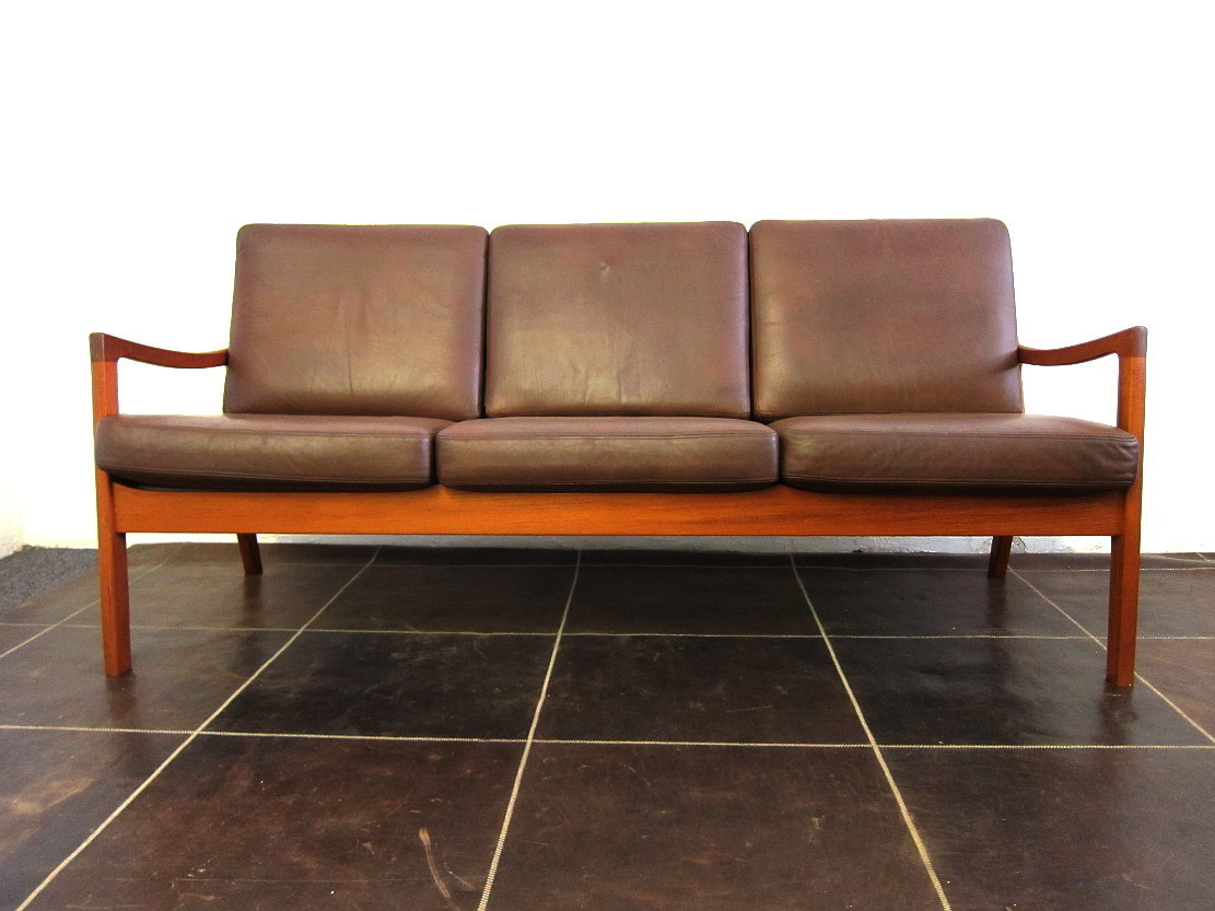 Ole Wanscher Senator Three Seat Sofa in Teak and Leather Cado
