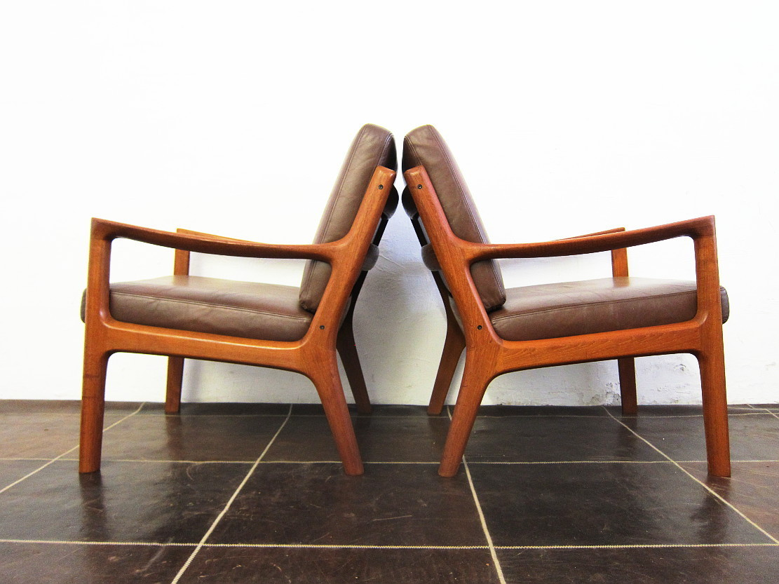 2 Senator Easy Chairs Design Ole Wanscher for Cado Teak Leather
