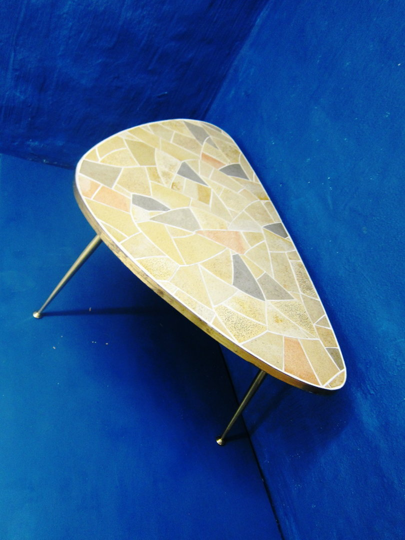 50s Mosaic Table with Brass Legs